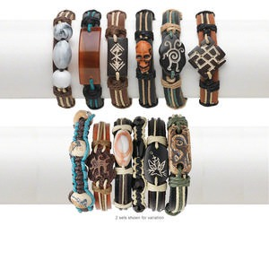 Bracelet mix, leather / hemp / bone / resin / agate (natural), multicolored, mixed size and shape, adjustable 7-10 inches. Sold per pkg of 6.