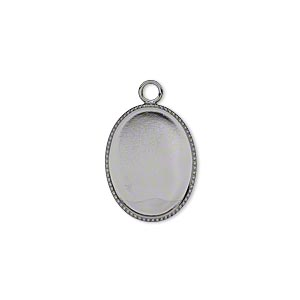 Drop, Gunmetal-plated Brass, 17x13mm Oval Beaded Edge 16x12mm Oval Bezel Setting. Sold Per Pkg 6