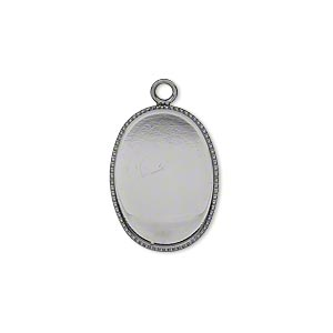 Drop, Gunmetal-plated Brass, 19x14mm Oval Beaded Edge 18x13mm Oval Bezel Setting. Sold Per Pkg 6