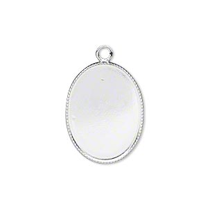 Drop, Silver-plated Brass, 21x16mm Oval Beaded Edge 20x15mm Oval Bezel Cup Setting. Sold Per Pkg 6