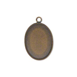 Drop, Antiqued Brass, 21x16mm Oval Beaded Edge 20x15mm Oval Bezel Cup Setting. Sold Per Pkg 6