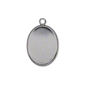 Drop, Gunmetal-plated Brass, 21x16mm Oval Beaded Edge 20x15mm Oval Bezel Setting. Sold Per Pkg 6