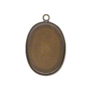 Drop, Antiqued Brass, 26x19mm Oval Beaded Edge 25x18mm Oval Bezel Cup Setting. Sold Per Pkg 6