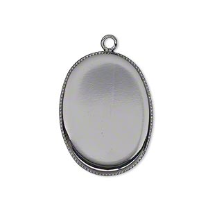 Drop, Gunmetal-plated Brass, 26x19mm Oval Beaded Edge 25x18mm Oval Bezel Setting. Sold Per Pkg 6