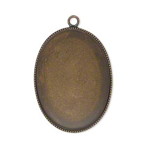 Focal, Antiqued Brass, 31x23mm Oval Beaded Edge 30x22mm Oval Bezel Setting. Sold Per Pkg 2