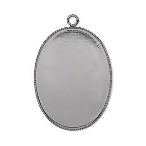 Focal, Gunmetal-plated Brass, 31x23mm Oval Beaded Edge 30x22mm Oval Bezel Setting. Sold Per Pkg 2