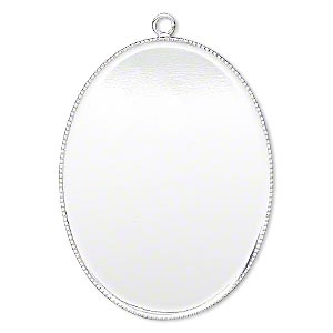 Focal, Silver-plated Brass, 41x31mm Oval Beaded Edge 40x30mm Oval Bezel Cup Setting. Sold Per Pkg 2