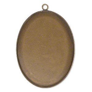 Focal, Antiqued Brass, 41x31mm Oval Beaded Edge 40x30mm Oval Bezel Setting. Sold Per Pkg 2