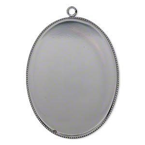 Focal, Gunmetal-plated Brass, 41x31mm Oval Beaded Edge 40x30mm Oval Bezel Setting. Sold Per Pkg 2