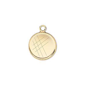 Drop, Gold-plated Brass, 14mm Round Beaded Edge 13mm Round Bezel Setting. Sold Per Pkg 6