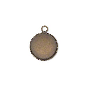 Drop, Antiqued Brass, 14mm Round Beaded Edge 13mm Round Bezel Cup Setting. Sold Per Pkg 6
