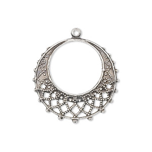 Focal, Antique Silver-plated Brass, 25mm Filigree Round. Sold Per Pkg 10