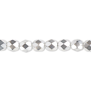 Bead, Czech Fire-polished Glass, Opaque Metallic Silver Chrome, 6mm Faceted Round. Sold Per Pkg 1,200 (1 Mass) 152-19001-17-6mm-00030-97302