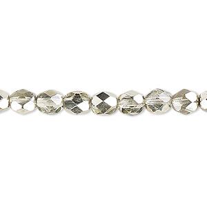 Bead, Czech Fire-polished Glass, Opaque Metallic Mint, 6mm Faceted Round. Sold Per Pkg 1,200 (1 Mass) 152-19001-17-6mm-00030-97353