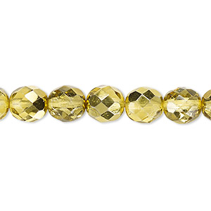 Bead, Czech Fire-polished Glass, Metallic Yellow Gold, 8mm Faceted Round. Sold Per Pkg 600 (1/2 Mass) 152-19001-00-8mm-00030-97385