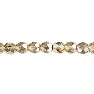 Bead, Czech Fire-polished Glass, Translucent Metallic Pale Gold, 6mm Faceted Round. Sold Per Pkg 1,200 (1 Mass) 152-19001-17-6mm-00030-97387