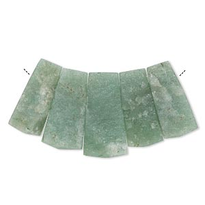 Bead, Green Aventurine (natural), 30x18mm-36x20mm Graduated Hand-cut Top-drilled Fan, C Grade, Mohs Hardness 7. Sold Per 5-piece Set 2339GE