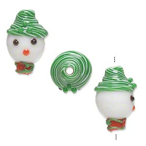 Bead, Lampworked Glass, Opaque White/green/red, 18x12mm Snowman Head Hat Scarf. Sold Per Pkg 2