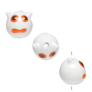 Bead, Lampworked Glass, Opaque White/black/orange, 13x12mm Monster Face. Sold Per Pkg 4