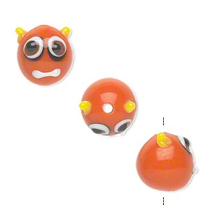 Bead, Lampworked Glass, Opaque Orange-red/yellow/black/white, 13x12mm Monster Face. Sold Per Pkg 4