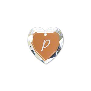 Drop SwarovskiR Crystals Glacier Blue 18mm Heart With Alphabet Letter P 6227 Sold Individually