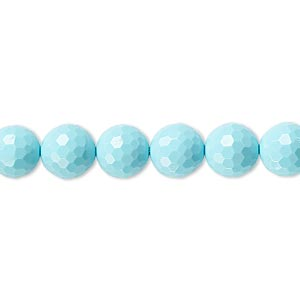 "Bead, ""turquoise"" (imitation) Resin, Blue, 8mm Faceted Round. Sold Per 8-inch Strand, Approximately 25 Beads"