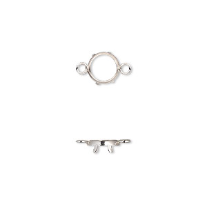 Link, Sterling Silver, 7mm Round 6mm 4-prong Low Wall Bezel Setting. Sold Per Pkg 2