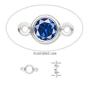 Link, Sterling Silver, 5mm Round 4mm 4-prong Low Wall Bezel Setting. Sold Per Pkg 2