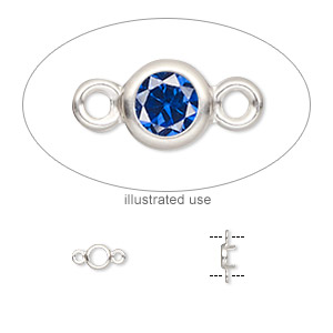 Link, Sterling Silver, 4mm Round 3mm 4-prong Low Wall Bezel Setting. Sold Per Pkg 2
