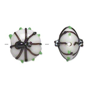 Bead, Lampworked Glass, Opaque White/black/green, 15x13mm Double-sided Puffed Flat Round Black Spider Dots. Sold Per Pkg 2