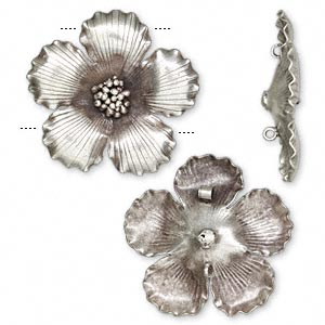 Focal, Hill Tribes, Antiqued Fine Silver, 65x65mm Flower. Sold Individually