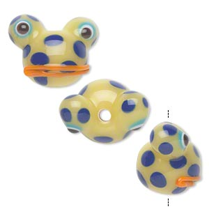 Bead, Lampworked Glass, Opaque Light Green/blue/orange, 20x14mm Frog Head Spots. Sold Per Pkg 4