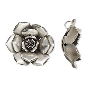 Focal, Hill Tribes, Fine Silver, 45mm Rose. Sold Individually