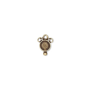 Drop, JBB Findings, Antiqued Brass, 10x8mm 5mm Round Setting. Sold Per Pkg 2 8361ABR