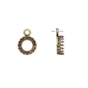Drop, JBB Findings, Antiqued Brass, 9mm Round Decorative Trim, 8mm Round Bezel Setting. Sold Per Pkg 2 8164ABR
