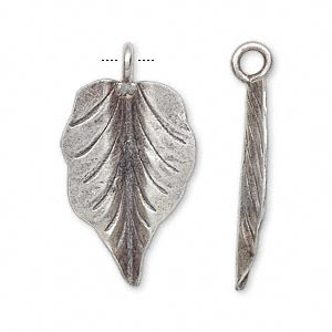 Charm, Hill Tribes, Antiqued Fine Silver, 27x18mm Leaf. Sold Individually