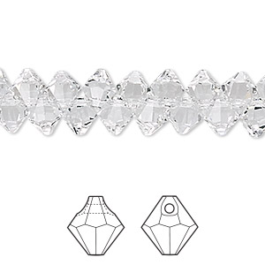 Drop, Swarovski® Crystals, Crystal Passions®, Crystal Clear, 6mm Faceted Bicone Pendant (6301). Sold Per Pkg 144 (1 Gross) 6301