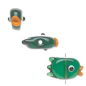 4 Lampwork Glass Opaque Orange Purple Green Yellow 22x18mm Fish Beads