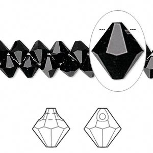 Drop, Swarovski® Crystals, Crystal Passions®, Jet, 6mm Faceted Bicone Pendant (6301). Sold Per Pkg 12 6301