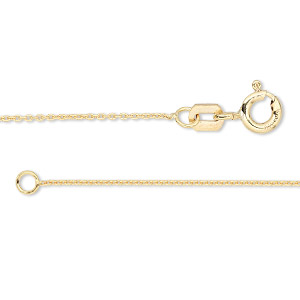 Chain, Gossamer™, 14Kt Gold-filled, 1mm Oval Cable, 18 Inches Springring Clasp. Sold Individually 2414CH