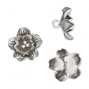 Button, Hill Tribes, Antiqued Fine Silver, 16mm Flower. Sold Individually