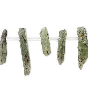 Bead, Green Kyanite (natural), 15x3mm-25x7mm Hand-cut Top-drilled Stick, C- Grade, Mohs Hardness 4 7-1/2. Sold Per 8-inch Strand, Approximately 20 Beads 2414GE