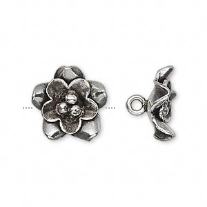 Button, Hill Tribes, Antiqued Fine Silver, 15mm Flower. Sold Individually