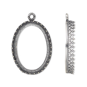 Drop, JBB Findings, Antique Silver-plated Brass, 27x20mm Oval Decorative Trim, 25x18mm Oval Bezel Setting. Sold Individually 8394BRASP 25X18 1LP