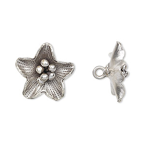 Button, Hill Tribes, Antiqued Fine Silver, 18x18mm Flower. Sold Individually