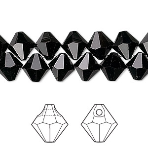 Drop, Swarovski® Crystals, Crystal Passions®, Jet, 8mm Faceted Bicone Pendant (6301). Sold Per Pkg 12 6301