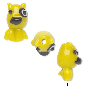 Bead, Lampworked Glass, Opaque Yellow Black, 22x13mm Dog Circle Eye. Sold Per Pkg 2