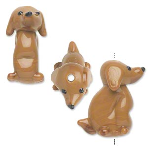 Bead, Lampworked Glass, Opaque Brown, 25x22mm Dog. Sold Per Pkg 2