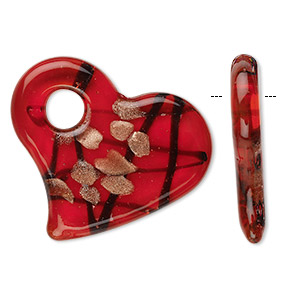 Focal, Glass, Red, 50x45mm Flat Heart. Sold Individually