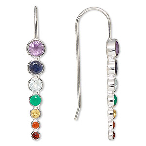 Fishhook Earrings Sterling Silver Mixed Colors
